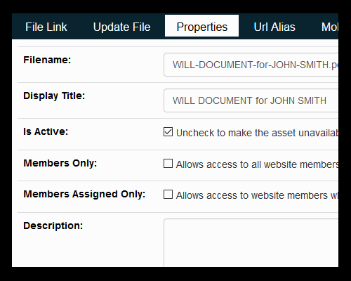 Document Assets Properties